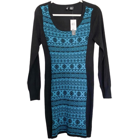 Ultra Flirt Sweater Dress Teal and Black Aztec NWT